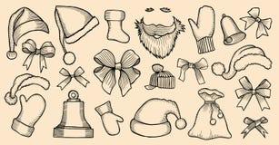 Set of Santa`s hats Stock Image