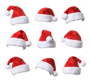 Santa`s red hat collection Royalty Free Stock Photos