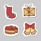 Set of santa sock, mail,letter, cake and bells. Sticker set for your web design. Xmas holiday. Happy New Year. Stock Photos