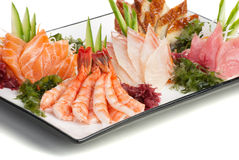 Set of Sashimi on Daikon with Seaweed, Cucumber Stock Photos