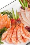 Set of Sashimi on Daikon with Seaweed, Cucumber Stock Images