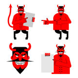 Set satana and devil. Daemon in different poses. Scary red demon. Shows blank. Beelzebubs head with smile and horns Royalty Free Stock Photos