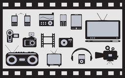 Set of satellite, audio, video technical objects Stock Photos