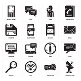 Set of Satellite dish, Projector, Search, Info, Monitor, Mailbox, Diskette, User, Mobile phone icons. Set Of 16 simple  icons such as Satellite dish, Projector Stock Photos