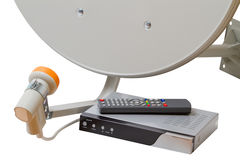 Set of satellite TV equipment Stock Photos
