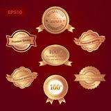Set of satisfaction guarantee and premium quality emblem or badg Royalty Free Stock Photography