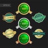 Set of satisfaction guarantee and premium quality emblem or badg Stock Photos