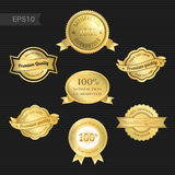 Set of satisfaction guarantee and premium quality emblem Royalty Free Stock Image