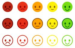 Set of satisfaction scales with colorful smileys buttons. stock illustration
