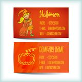 Set saturated modern business card template. With witch, cat, pumpkin store horror Stock Photography