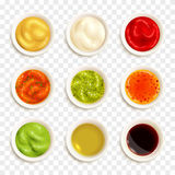 Set Of Sauce Icons. Set of color icons depicting different sauce in plate vector illustration Royalty Free Stock Photo