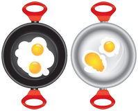 Set of saucepans with Scrambled eggs Royalty Free Stock Image
