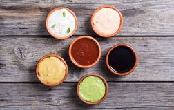 Set of sauces stock image