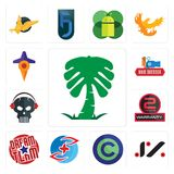 Set of saudi palm, jz, copyright free, medicare, dream team, 2 years warranty, skull with headphone, hair dresser, travel icons. Set Of 13 simple  icons such as Stock Images