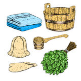 Set for sauna. Hand drawn vector items for bath. Royalty Free Stock Photo