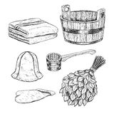 Set for sauna. Hand drawn vector items for bath. Stock Images
