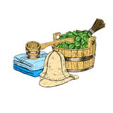 Set for sauna. Hand drawn vector items for bath. Stock Image
