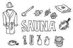Set of sauna icons. Banya elements. Icons set. Vector illustration, EPS 10 Stock Photo