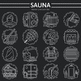 Set of Sauna Line Icon Royalty Free Stock Photography