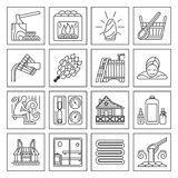 Set of Sauna Line Icon. Modern Vector Line Icons with different sauna elements - sauna whisk, heater,bucket waterfall, lakeside jetty and others. Spa relaxation Stock Image