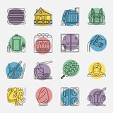Set of Sauna Line Icon. Modern Vector Line Icons with different sauna elements - sauna whisk, heater,bucket waterfall, lakeside jetty and others. Spa relaxation Stock Photo