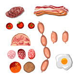 Set of sausage. Bacon. Salami. Smoked Boiled. Slices. Isolated objects on a white background, vector illustration Royalty Free Stock Image