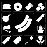 Set of Sausage, Butcher, Spatula, Honey, Mustard, Teapot, Sushi,. Set Of 13 simple editable icons such as Sausage, Butcher, Spatula, Honey, Mustard, Teapot Stock Illustration