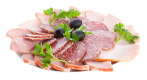 Set of sausage on plate Royalty Free Stock Photo