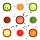 Set of sause. Set of bright colored sauces. Mustard and horseradish, mayonnaise and adjika, salsa and guacamole with herbs and spices. Flat vector cartoon Stock Images