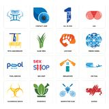 Set of savage, badminton club, hazardous waste, realestate, pool service, lion paw, 75th anniversary, all in one, icons. Set Of 16 simple  icons such as savage Stock Photo