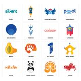 Set of savage, mandarin, mayan, all in one, papaya, condom, golden ratio, house with wings, silent icons. Set Of 16 simple  icons such as savage, mandarin, panda Stock Photography