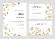 Set of Save the Date card or wedding invitation templates with beautiful magnolia tree branches and blooming flowers on stock illustration