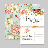 Set of Save the Date Cards with Autumn Vintage Hortensia Flowers for Wedding, Invitation, Party Stock Images
