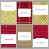 Set of save the date templates. Set of beautiful card templates.Perfect for Save the Date,wedding, baby shower, birthday, bridal party and other invitations Royalty Free Stock Photography