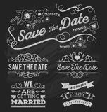 Set of save the date typography, frame and ribbon chalk style. Save the date frame and element on chalkboard design. Vector illustration Royalty Free Stock Photos