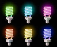 Set of save Lightbulb in colors Stock Photography