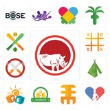 Set of save the rhino, gynecologist, eee, university, pre school, teepee, non smoking, tic tac toe, fantasy baseball icons. Set Of 13 simple  icons such as save Royalty Free Stock Images