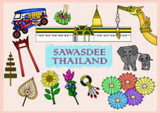 Set of Sawasdee Thailand Culture Royalty Free Stock Photography