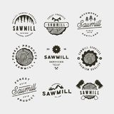 Set of sawmill logos. retro styled woodwork emblems. vector illustration royalty free stock images