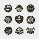 Set of sawmill logos. retro styled woodwork emblems. vector illustration stock photography