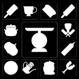 Set of Scale, Glass, Flour, Teapot, Pizza, Mustard, Pumpkin, But. Set Of 13 simple editable icons such as Scale, Glass, Flour, Teapot, Pizza, Mustard, Pumpkin Stock Illustration