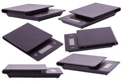 Set of scales isolated in various positions stock photography