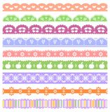 Set of scalloped vector borders. Cut out fruits and flowers royalty free illustration