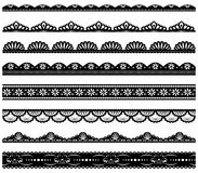 Set of scalloped vector borders. Set of scalloped vector lace borders royalty free illustration