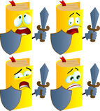 Set of scared book guard with shield and sword Stock Image