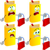 Set of scared book holding an empty bag Royalty Free Stock Images