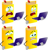 Set of scared book holding laptop Stock Photography