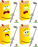 Set of scared book swinging his golf club Royalty Free Stock Photos