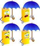 Set of scared book with umbrella Stock Photography