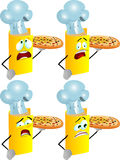 Set of scared chef book showing a delicious pizza Royalty Free Stock Photo